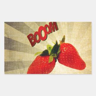Strawberry go BOOM Popart Rectangular Sticker