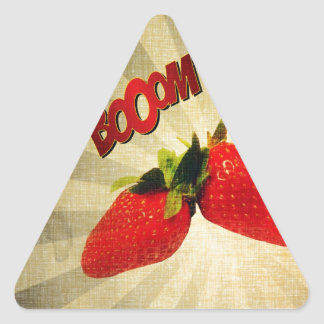 Strawberry go BOOM Popart Triangle Sticker