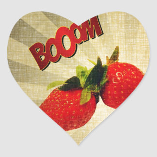 Strawberry go BOOM Popart Heart Sticker