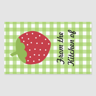 Strawberry Green Gingham Food Labels