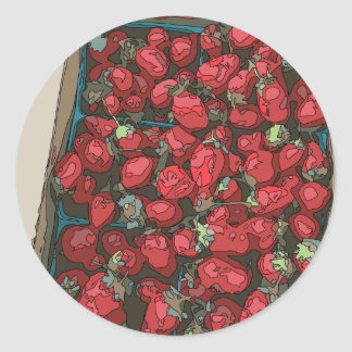 Strawberry Harvest Classic Round Sticker
