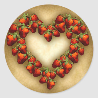 Strawberry Heart Classic Round Sticker