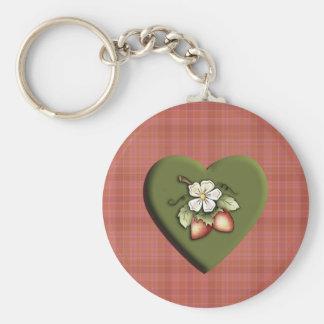 Strawberry Heart Keychain