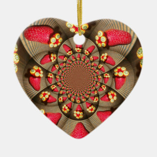 STRAWBERRY Heart  VINTAGE RED AND YELLOW Ornament
