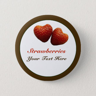 Strawberry Hearts Pin Back Button
