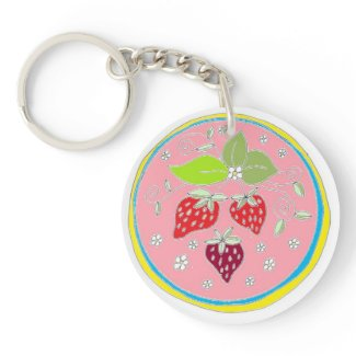 Strawberry Hex art by EelKat - pink Keychain
