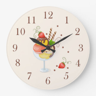 strawberry hoists cream large clock