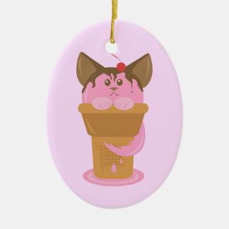 Strawberry Ice Cream Cat Ceramic Ornament