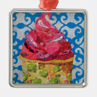 Strawberry ice cream collage art metal ornament
