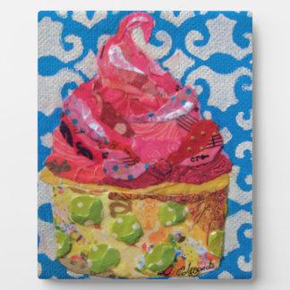 Strawberry ice cream collage art plaque