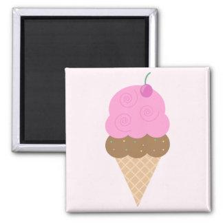 Strawberry Ice Cream Cone 2 Inch Square Magnet