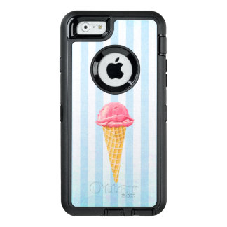 Strawberry Ice Cream Cone With Blue Stripes OtterBox Defender iPhone Case