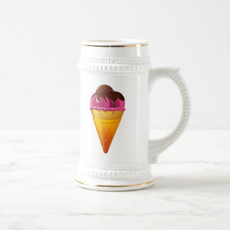 Strawberry Ice Cream Cone with Chocolate Sauce 18 Oz Beer Stein