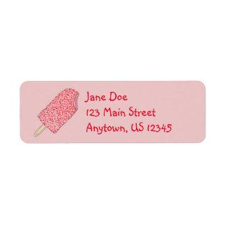 Strawberry Ice Cream Popsicles Address Labels