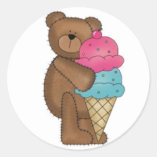 Strawberry Ice Cream Teddy Classic Round Sticker