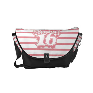 Strawberry Ice Sweet 16 and  Thin Stripes Pattern Small Messenger Bag