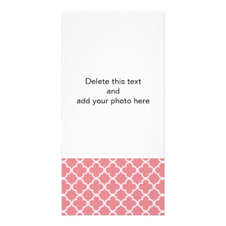 Strawberry Ice White Quatrefoil Moroccan Pattern Photo Greeting Card