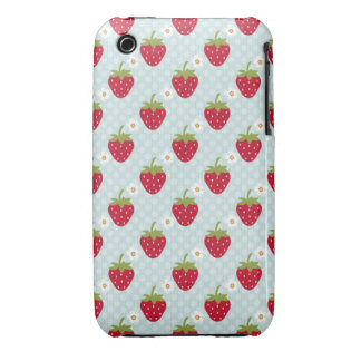 Strawberry iPhone 3 Case Mate Blue Polka Dot