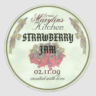 Strawberry Jam canning jar labels1 Classic Round Sticker