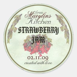 Strawberry Jam canning jar labels1 Classic Round Sticker