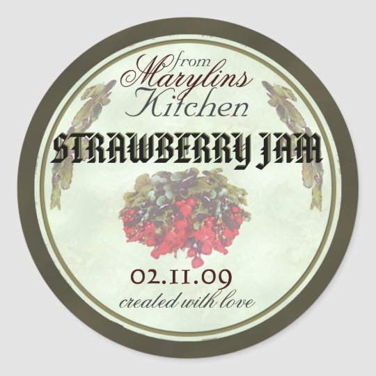 Strawberry Jam canning jar labels1b Classic Round Sticker