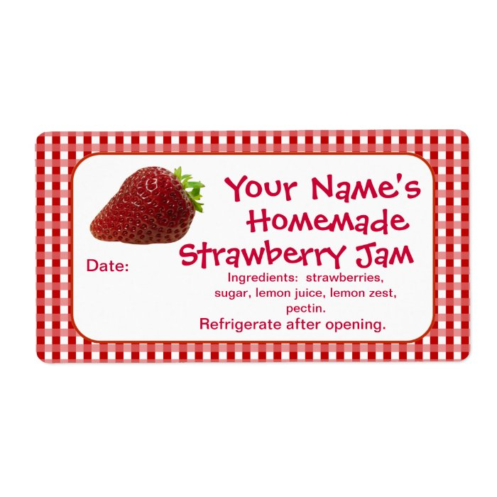 Strawberry Jam Canning Jar Labels Personalized Zazzle