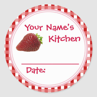 Strawberry Jam Canning Jar Lid Labels Personalized