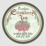 Strawberry Jam canning labels 2 Classic Round Sticker