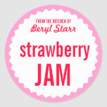 Strawberry Jam Home Canning Label Template Classic Round Sticker