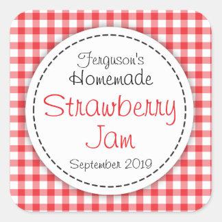 Strawberry jam jar food label