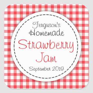 Strawberry jam jar food label square sticker