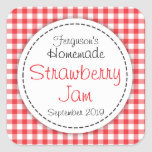 Strawberry jam jar food label square stickers