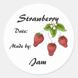 Strawberry Jam Jar Label (Customize) Classic Round Sticker