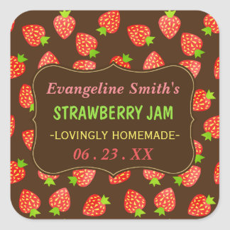 Strawberry Jam Jar Pretty Custom Strawberries Square Sticker