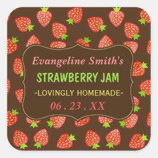 Strawberry Jam Jar Pretty Custom Strawberries Square Sticker