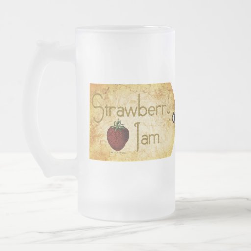 Strawberry Jam Label Frosted Glass Beer Mug
