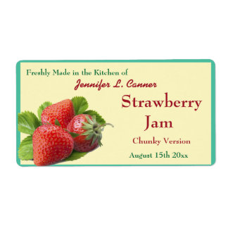 Strawberry Jam or Preserves 2 Canning Jar Label