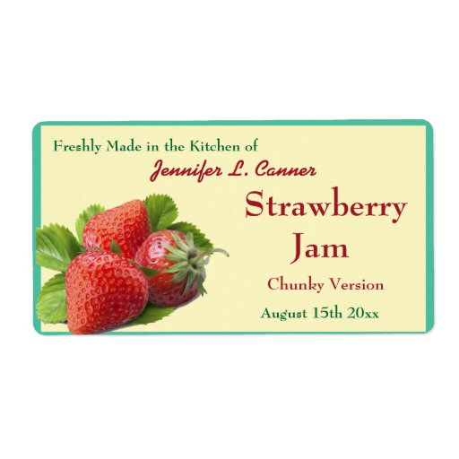 Strawberry Jam or Preserves 2 Canning Jar Custom Shipping Labels