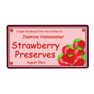 Strawberry Jam or Preserves Home Canning Jar Shipping Label