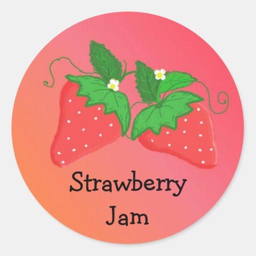 Strawberry Jam Round Stickers