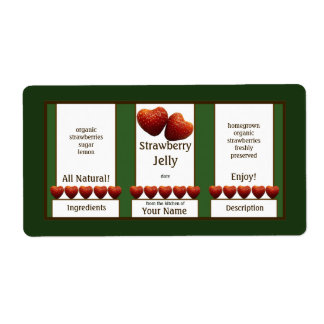 Strawberry Jelly Canning Jar Label Shipping Label