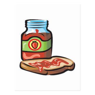 strawberry jelly jam and toast postcard