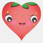 Strawberry Kawaii Heart Shape Stickers
