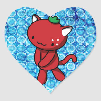 Strawberry Kitty Heart Sticker