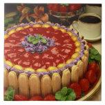 Strawberry lady finger cake ceramic tile