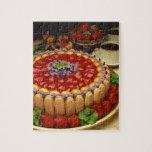 Strawberry lady finger cake puzzle