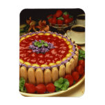 Strawberry lady finger cake rectangular magnets