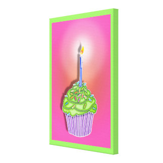 Strawberry Lime BIRTHDAY CUPCAKE & CANDLE Gallery  Canvas Prints