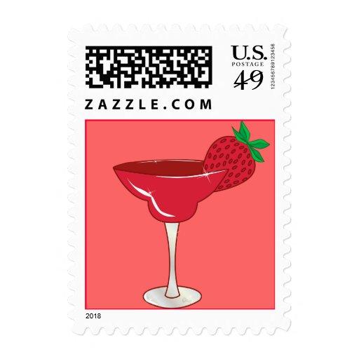 Strawberry Margarita Postage Stamps