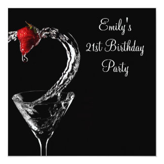 Strawberry Martini Cocktail Birthday Party Invitations